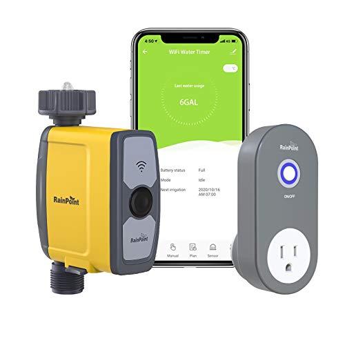 RAINPOINT WiFi Bewässerungscomputer, Smarte Wasserzeitschaltuhr mit APP, Automatische Bewässerungsuhr, Ferngesteuertes Bewässerungssystem mit Wassermengenzähler,...
