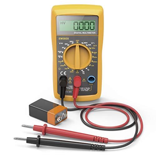 Hama Digital Multimeter (Spannungsprüfer inkl. Batterie, Spannungsmesser bis 250V, Widerstand Messung, Multifunktions Strommessgerät mit Hintergrundbeleuchtung)...