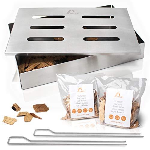 Amazy Edelstahl Räucherbox inkl. 2 Grillspieße und 2 Sorten Räucherchips (Buche & Eiche) – Die spülmaschinenfeste Smokerbox verleiht Ihrem Fisch oder Steak das...