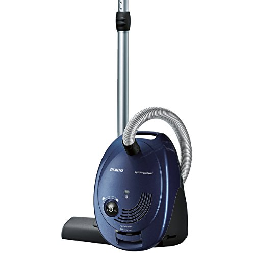 Siemens vacuum cleaner with bag VS06A111, very low power consumption, HighPower motor, XL bag volume, long cable, hygienic filter, 600 Watt, blue