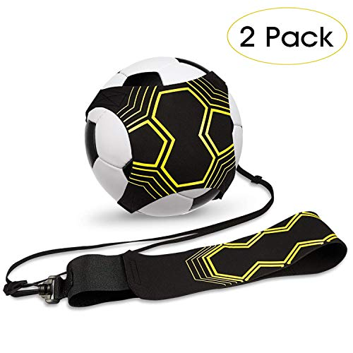 2-pack soccer kick trainer, soccer training aid for children and adults Hands-free solo training with belt Elastic rope Soccer exercises for ...