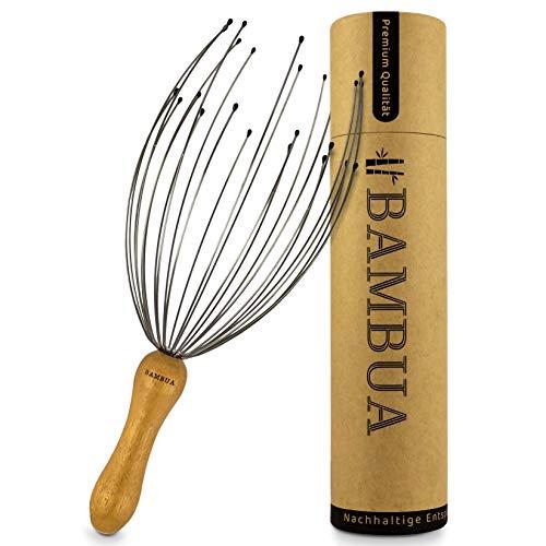 BAMBUA - Kopfmassage Spinne mit 24 Fingern - Bambusgriff - Hergestellt aus Moso-Bambus - Premium Kopfmassagegerät für Nachhaltige Entspannungsgefühle - Ideal als...