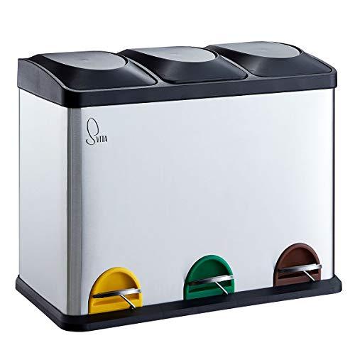 SVITA TC3X15 Treteimer Edelstahl 45 Liter Silber 3X 15L dreifach Abfalleimer 3er-Mülleimer Mülltrennung Küchen-Eimer
