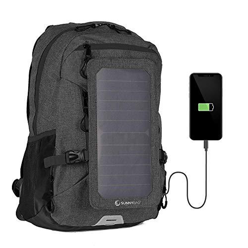 SUNNYBAG EXPLORER+ Solar-Rucksack mit abnehmbarem 6 Watt Solarpanel - Smartphone, Tablet, Smartwatch, Powerbank unterwegs mit Solarenergie laden - mit Laptopfach und...