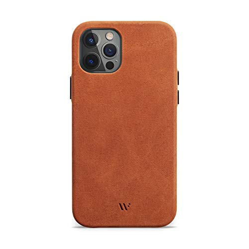 WIIUKA Hülle für iPhone 12/12 Pro, Deutsches Leder, Lederhülle extra Dünn, Premium Handyhülle, Case, Qi, Vintage Braun