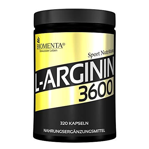 BIOMENTA L-arginiini 3600 - erikoishinta - 320 L-arginiinikapseli suuri annos - 3.652 mg arginiiniaminohappoa päivässä - puhdas L-arginiini ilman magnesiumstearaattia