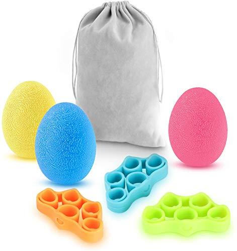 Newlemo Antistressbälle, handtrainer - 3 Anti Stress bälle und 3 fingertrainer für Erwachsene und Kinder - Stressabbau, Kraft steigern, Geschicklichkeit...
