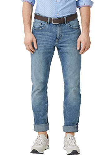 s.Oliver Herren Slim Fit: Straight leg-Denim mit Gürtel blue denim stretch 30.32