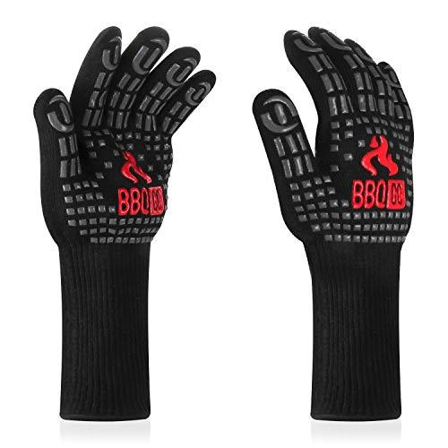 Inkbird Grillhandschuhe Hitzebeständige, Grillhandschuhe mit 800°C Extrem Hitzebeständige, rutschfest Ofenhandschuhe Backhandschuhe, Silikonisolierte Handschuhe...