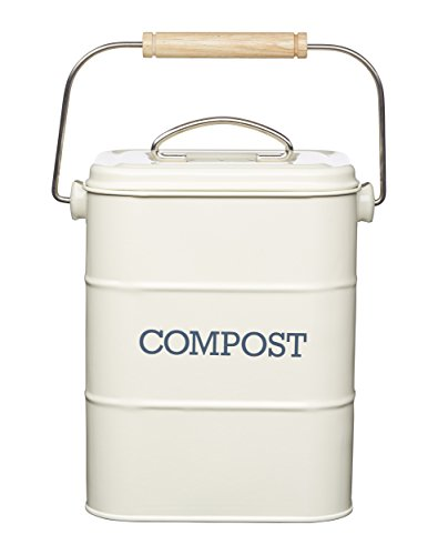 KitchenCraft Living Nostalgia Metall Küche Bioabfallbehälter, Arbeitsplatte/Unterschrank Mini Kompostlager und Recycling Lebensmittelabfall Behälter, mit...