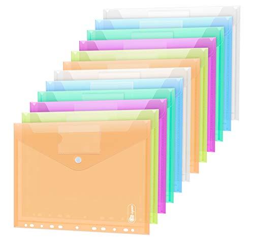 24 Stück Dokumententasche A4, 6 Farben Sichttasche A4 Transparent, Dokumenten Dokumentenmappe Sammelmappen Tasche druckknopf für Organisieren mit 11 Lochrand und...