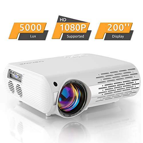 Projector, 5000 Lux Video Projector (550 ANSI) Crenova XPE660 Supports Full HD 1080P Home Theater Projector, Connection with TV Sticks, PS4 Xbox, HDMI, VGA, SD Cards, AV ...