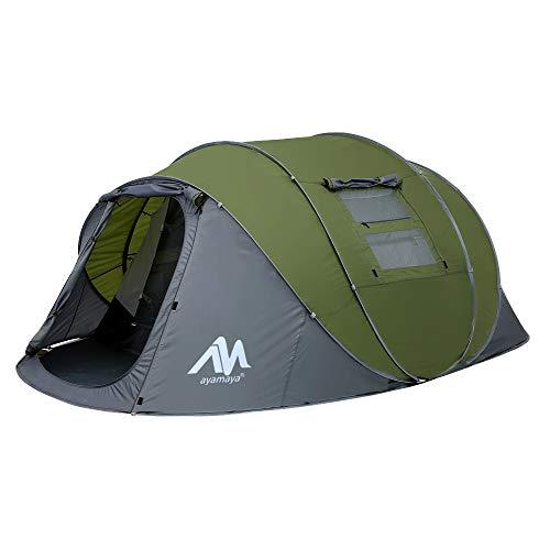Zelt 4-6 Personen Wasserdicht, Pop up Zelte Familienzelt [5 Fenster] Riesiges Camping Zelt Doppelwandig Wurfzelt Shelter 6-Mann Zelt mit Vorraum für Outdoor Sport...