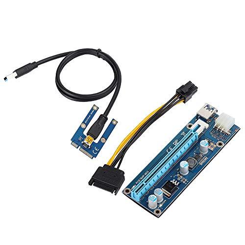 Mini-PCI-E-zu-PCI Express16x-Extender-Riser-Adapter mit SATA-Netzkabel und 4 Halbleiterkondensatoren für Grafikkarten-Mining, Netzkabel aus reinem Kupfer