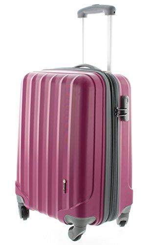 Pianeta - Hartschalenkoffer Trolley Koffer Reisegepäck Handgepäck Kabinentrolley Ibiza - 4 Räder - Erweiterbar (M (55cm), Berry)