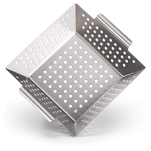 Blumtal Grillkorb aus 100% Edelstahl - perfekt für Grillgemüse, Grillschale geeignet für alle Grillarten, 21 x 21 x 6 cm (Medium)