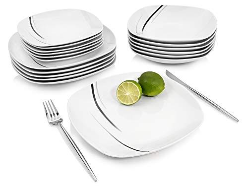 Sänger Tafelservice Bilgola Black Lines 18 teiliges Geschirr-Service für 6 Personen aus Porzellan, Speise-, Dessertteller und Schalen, erweiterbar, Alltag,...