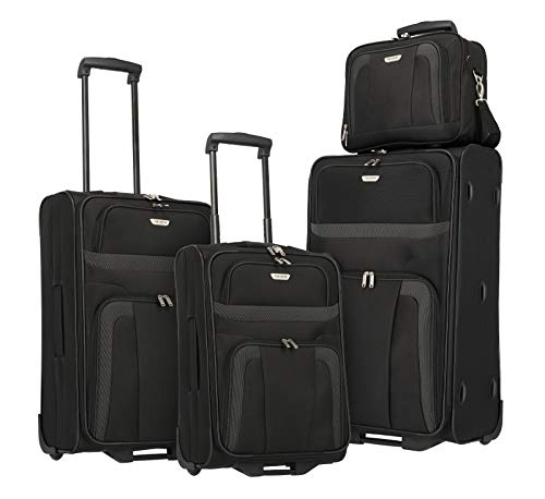 Travelite 2-wheel suitcase set sizes L / M / S + cabin bag, hand luggage meets IATA cabin luggage dimensions, luggage series ORLANDO: Classic soft luggage trolley in ...