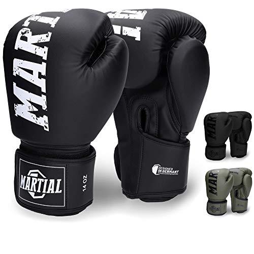 Martial Boxhandschuhe - NEUES Modell - aus bestem Material für Lange Haltbarkeit! Kickboxhandschuhe für Kampfsport, MMA, Sparring und Boxen mit optimaler...