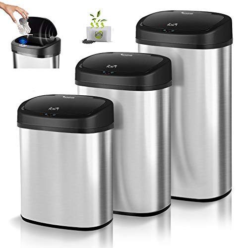 Sensor Mülleimer, Batterie- und Netzbetrieb, Geruchsfilter, Automatik Abfalleimer, Müllbehälter Edelstahl, 38L, 48L, 58L