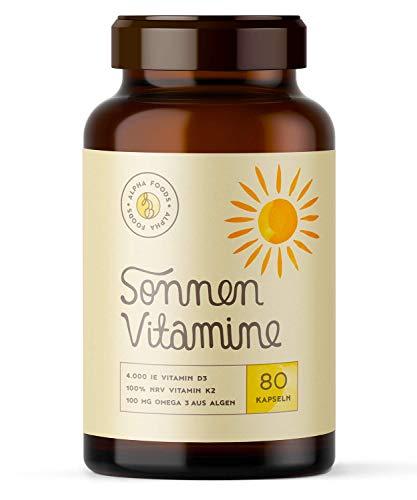 4.000 Vitamin D3, K2 (vitaMK-7®, 99,99% All-Trans) und pflanzliche Omega 3 Fettsäuren aus Leinsamen und Algen | SONNENVITAMINE | Ohne Zusatzstoffe, ohne...