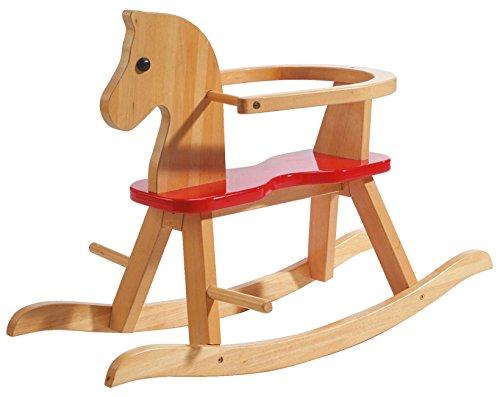 roba Schaukelpferd, Schaukeltier Massivholz natur rot, Schaukelstuhl mitwachsend für Babys und Kleinkinder durch abnehmbaren Schutzring