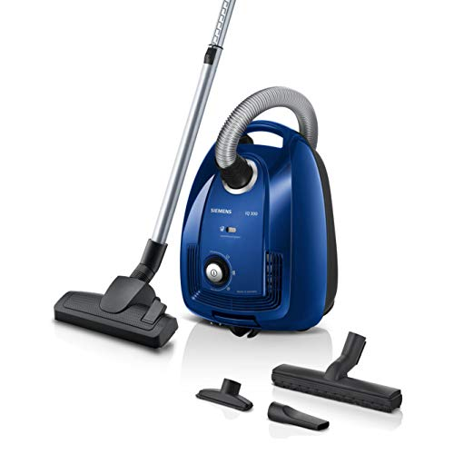 Siemens iQ300 VSC3320, cylinder vacuum cleaner with bag, blue