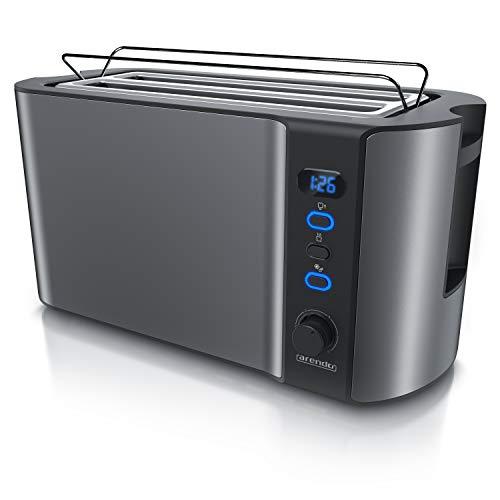 Arendo - Edelstahl Toaster Langschlitz 4 Scheiben - Defrost Funktion - wärmeisolierendes Gehäuse - mit integrierten Brötchenaufsatz - 1500W - Krümelschublade -...