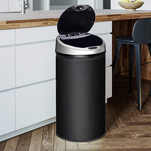 Ribelli Edelstahl Mülleimer - Abfalleimer mit Sensor - automatisches Öffnen und Schließen - Klemmring für Müllbeutel - Abnehmbarer Deckel - mit...