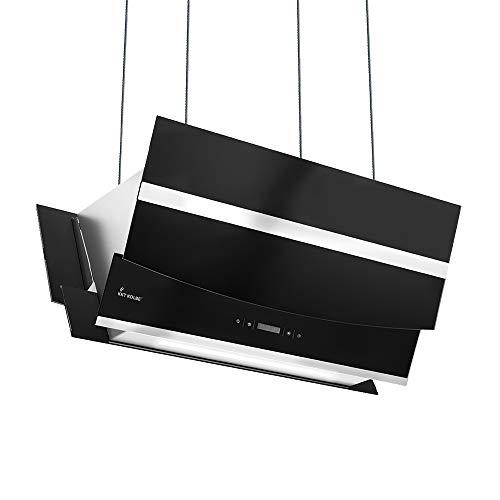 KKT KOLBE Kopffreie Dunstabzugshaube/Inselhaube 90cm / Edelstahl/schwarzes Glas/Smart App / 4 Stufen/RGB LED-Beleuchtung/Display/TouchSelect...