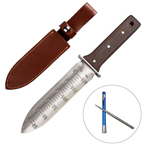 CIELCERA Hori Hori Garden knife with sharpening rod, ideal - digging in gardening and landscaping weeding instrument, stainless steel blade with protective ...