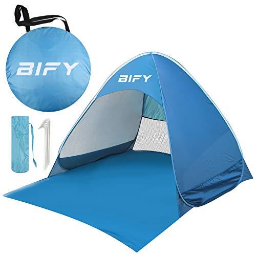 BIFY Pop up Strandmuschel/Strandzelt Beach zelt Tragbar Wurfzelt, UV Schutz 50+ für 1-3 person mit Haus Verschiedene Arten Aktivitäten am Strand (Blau) …