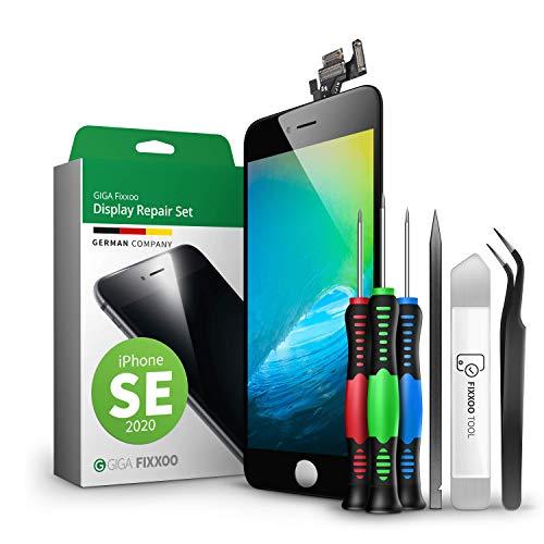 GIGA Fixxoo Display-Set für iPhone SE (2020) | SCHWARZ | vormontiertes Reparatur-Set komplett mit Frontkamera & Werkzeug-Kit, Ersatz Bildschirm | Retina LCD Glas...