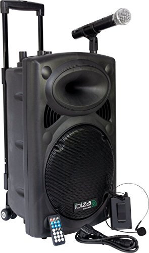 Ibiza Port12VHF-BT mobile 30cm battery / PA DJ system with Bluetooth and MP3 player incl. Handheld microphone + bodypack transmitter with headset.