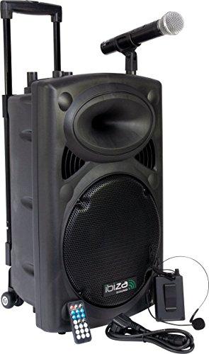 Ibiza Port12VHF-BT mobile 30cm Akku/PA-DJ-Anlage mit Bluetooth und MP3 Player inkl. Handfunkmikrofon+Taschensender mit Headset.