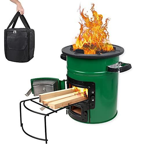 Camping Holzofen mit Tragetasche, BBQ Raketenofen Tragbarer für Rucksackreisen, Wandern, Picknick, Winddicht Campinggrill, Edelstahl