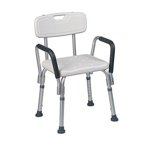 Teqler ® T-135303 -suihkutuoli, kylpytuoli, suihkutuoli hoitoa tarvitseville, korkeussäädettävä suihkutuoli, 38-45cm