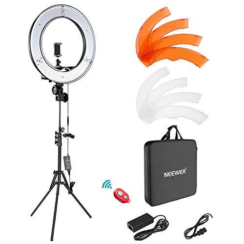 Neewer Ringleuchte Licht Set: 18 Zoll / 48 Zentimeter Außen 55W 5500K dimmbare LED-Ringlicht Lampenstativ Bluetooth-Empfänger für YouTube TikTok Self-Porträt der...