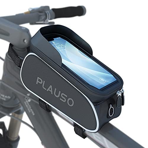 PLAUSO Fahrrad Rahmentasche wasserdichte Fahrradtasche Oberrohrtasche Lenkertasche - Fahrrad Handyhalterung, Fahrrad Handytasche für Smartphones unter 6,7 Zoll