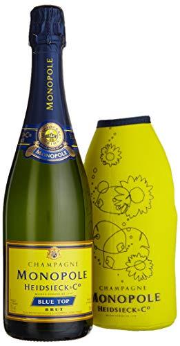 Monopole Heidsieck Blue Top Brut Champagner mit gelber Neoprenkühlmanschette (1 x 0,75 l)