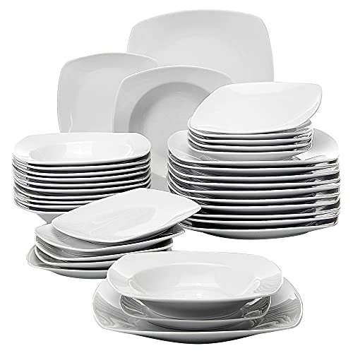 MALACASA, Serie Julia, 36 teilig Set Porzellan Geschirrset Tafelservice mit je 12 Speiseteller, 12 Dessertteller, 12 Suppenteller für 12 Personen