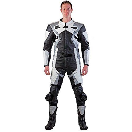 Lemoko Leder Motorradkombi Zweiteiler schwarz weiß silber Gr XL