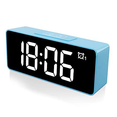 CHEREEKI Digitaler Wecker, 4,6' LED-Display-Uhren mit Sprachsteuerung Funktion, USB-Ladeanschluss, 12/24 Stunden, Snooze Funktion, 25 Weckerlieder, Speicher...