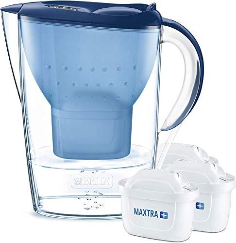 BRITA Wasserfilter Marella blau inkl. 3 MAXTRA+ Filterkartuschen – BRITA Filter Starterpaket zur Reduzierung von Kalk, Chlor & geschmacksstörenden Stoffen im...