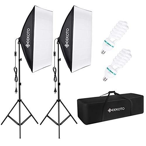 GEEKOTO Softbox Set Fotostudio 50 x 70cm, Dauerlicht Studioleuchte Set mit 2 Softboxlampen E27 85W 5500K, 2m Vollverstellbare Lichtstative für Studio-Porträts,...