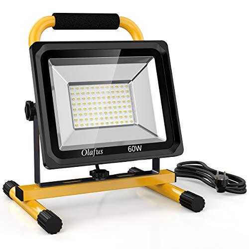 Olafus 60W 6000LM LED Baustrahler, 2 Helligkeitsmodi IP65 Wasserdicht LED Arbeitsleuchte Bauscheinwerfer, 5000K Tageslichtweiß Arbeitsscheinwerfer Strahler Fluter...