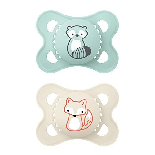 MAM Original Elements Schnuller im 2er-Set, symmetrischer und kiefergerechter Baby Schnuller aus SkinSoft Silikon, stillfreundliche Form, mit Schnullerbox, 0-6...