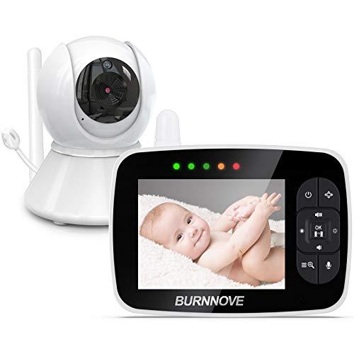 Babyphone mit kamera 3.5 Zoll Babyphone Baby Monitor mit ferngesteuerter Pan-Tilt Kamera 2x Digitalzoom 355°/120°Schwenkbar ECO-Modus Nachtsicht Rückgespräch...