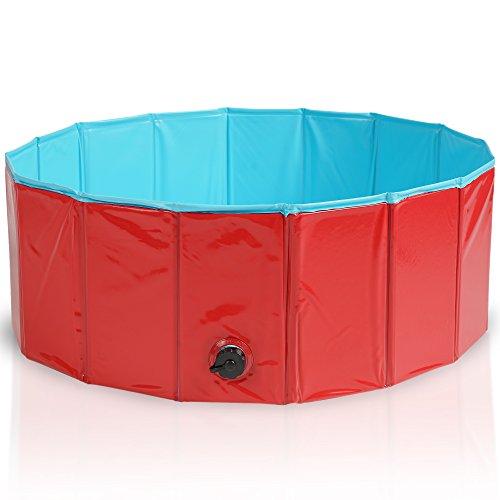 Premium Faltbarer Hundepool Planschbecken Schwimmbad Hundebadewanne Swimming Pool Kinderpool Bälle-Pool - Multifunktional, PVC-rutschfest| Haustier Kinder Hund...