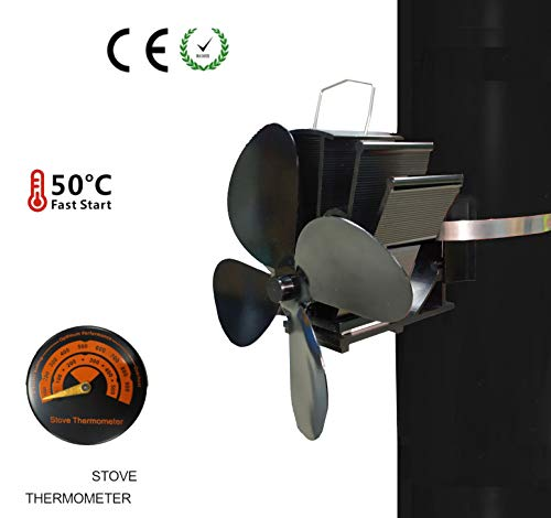 Electricityless fan from XIANEUFUN - Chimney fan without current - Fan for wood stoves - Stove fan for optimal distribution of the air (4 blades)